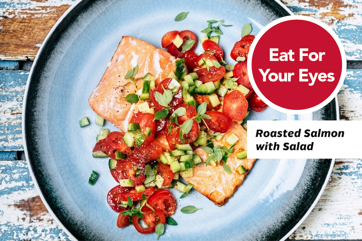 Roasted salmon with cherry tomato salad